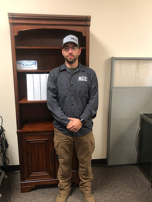 Municipal Operations & Consulting, Inc. employees working in the District will be wearing a uniform similar to this one. Shirt styles may vary based on the weather conditions at the time.